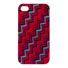 Red Turquoise Black Zig Zag Background Apple Iphone 4/4s Premium Hardshell Case by BangZart