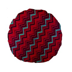 Red Turquoise Black Zig Zag Background Standard 15  Premium Round Cushions by BangZart