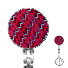 Red Turquoise Black Zig Zag Background Stainless Steel Nurses Watch by BangZart