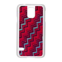 Red Turquoise Black Zig Zag Background Samsung Galaxy S5 Case (white) by BangZart
