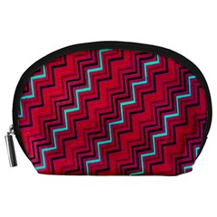 Red Turquoise Black Zig Zag Background Accessory Pouches (large)  by BangZart