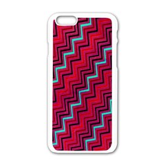 Red Turquoise Black Zig Zag Background Apple Iphone 6/6s White Enamel Case