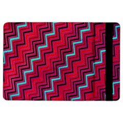 Red Turquoise Black Zig Zag Background Ipad Air 2 Flip by BangZart