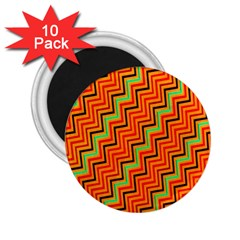 Orange Turquoise Red Zig Zag Background 2 25  Magnets (10 Pack)  by BangZart