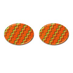 Orange Turquoise Red Zig Zag Background Cufflinks (oval) by BangZart