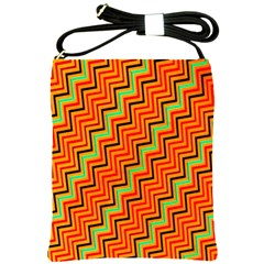 Orange Turquoise Red Zig Zag Background Shoulder Sling Bags by BangZart