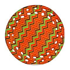 Orange Turquoise Red Zig Zag Background Round Filigree Ornament (two Sides) by BangZart