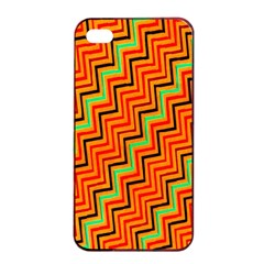 Orange Turquoise Red Zig Zag Background Apple Iphone 4/4s Seamless Case (black) by BangZart