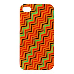 Orange Turquoise Red Zig Zag Background Apple Iphone 4/4s Hardshell Case by BangZart