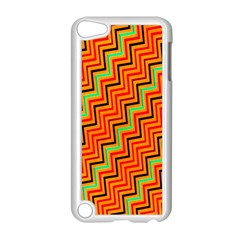 Orange Turquoise Red Zig Zag Background Apple Ipod Touch 5 Case (white) by BangZart