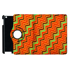 Orange Turquoise Red Zig Zag Background Apple Ipad 2 Flip 360 Case by BangZart