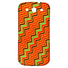Orange Turquoise Red Zig Zag Background Samsung Galaxy S3 S Iii Classic Hardshell Back Case by BangZart