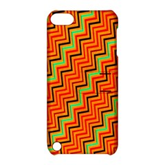 Orange Turquoise Red Zig Zag Background Apple Ipod Touch 5 Hardshell Case With Stand by BangZart