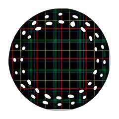 Tartan Plaid Pattern Ornament (round Filigree) by BangZart