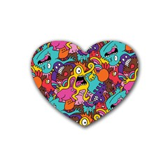 Monster Patterns Heart Coaster (4 Pack)  by BangZart
