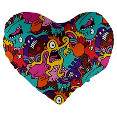 Monster Patterns Large 19  Premium Flano Heart Shape Cushions by BangZart