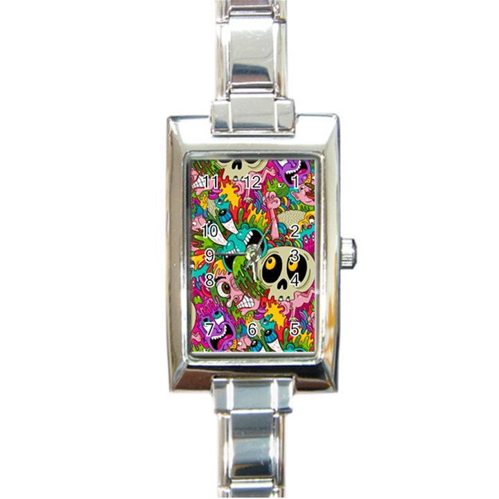 Crazy Illustrations & Funky Monster Pattern Rectangle Italian Charm Watch
