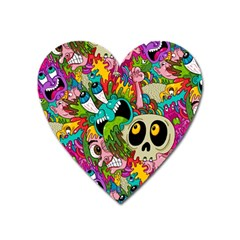 Crazy Illustrations & Funky Monster Pattern Heart Magnet by BangZart