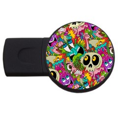 Crazy Illustrations & Funky Monster Pattern Usb Flash Drive Round (4 Gb) by BangZart