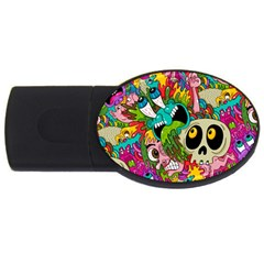 Crazy Illustrations & Funky Monster Pattern Usb Flash Drive Oval (4 Gb) by BangZart