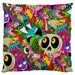 Crazy Illustrations & Funky Monster Pattern Large Cushion Case (two Sides) by BangZart