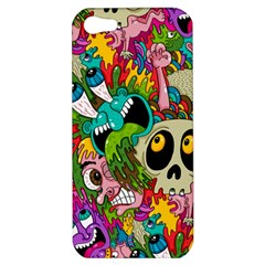 Crazy Illustrations & Funky Monster Pattern Apple Iphone 5 Hardshell Case by BangZart