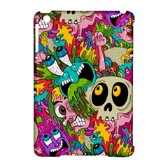 Crazy Illustrations & Funky Monster Pattern Apple Ipad Mini Hardshell Case (compatible With Smart Cover)