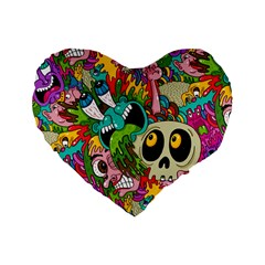 Crazy Illustrations & Funky Monster Pattern Standard 16  Premium Heart Shape Cushions by BangZart