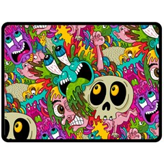 Crazy Illustrations & Funky Monster Pattern Double Sided Fleece Blanket (large)  by BangZart