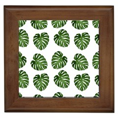 Leaf Pattern Seamless Background Framed Tiles by BangZart