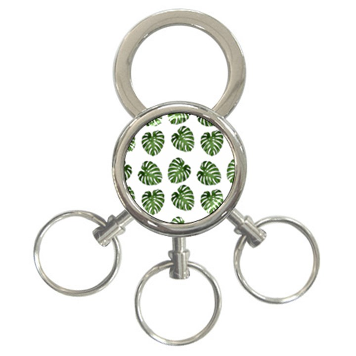 Leaf Pattern Seamless Background 3-Ring Key Chains