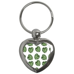 Leaf Pattern Seamless Background Key Chains (heart)  by BangZart