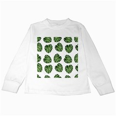 Leaf Pattern Seamless Background Kids Long Sleeve T Shirts by BangZart