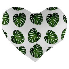 Leaf Pattern Seamless Background Large 19  Premium Heart Shape Cushions by BangZart