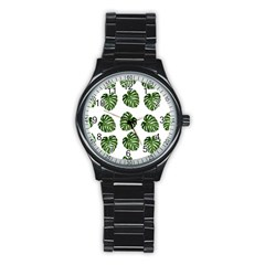 Leaf Pattern Seamless Background Stainless Steel Round Watch by BangZart