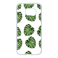 Leaf Pattern Seamless Background Samsung Galaxy S7 Edge White Seamless Case