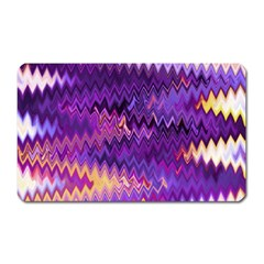 Purple And Yellow Zig Zag Magnet (rectangular) by BangZart