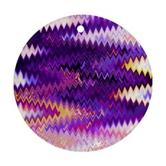 Purple And Yellow Zig Zag Round Ornament (two Sides) by BangZart