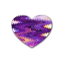 Purple And Yellow Zig Zag Heart Coaster (4 Pack)  by BangZart