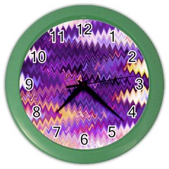 Purple And Yellow Zig Zag Color Wall Clocks by BangZart