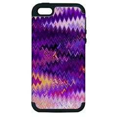 Purple And Yellow Zig Zag Apple Iphone 5 Hardshell Case (pc+silicone) by BangZart