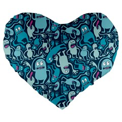 Monster Pattern Large 19  Premium Heart Shape Cushions by BangZart