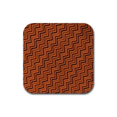 Brown Zig Zag Background Rubber Coaster (square)  by BangZart