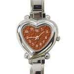 Brown Zig Zag Background Heart Italian Charm Watch Front