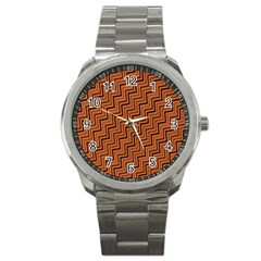 Brown Zig Zag Background Sport Metal Watch by BangZart