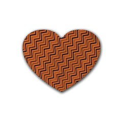 Brown Zig Zag Background Rubber Coaster (heart)  by BangZart