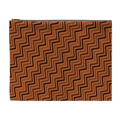 Brown Zig Zag Background Cosmetic Bag (xl) by BangZart