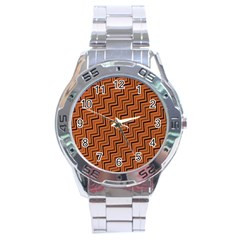 Brown Zig Zag Background Stainless Steel Analogue Watch by BangZart