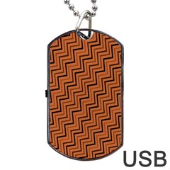 Brown Zig Zag Background Dog Tag Usb Flash (one Side) by BangZart