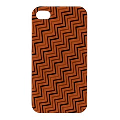 Brown Zig Zag Background Apple Iphone 4/4s Premium Hardshell Case by BangZart